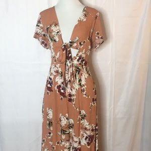 Stunning floral print peach dress